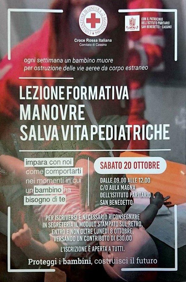 Scuola San Benedetto, 20 ottobre 2019. Contributo e supporto alla lezione formativa 'Manovre Salvavita Pediatriche