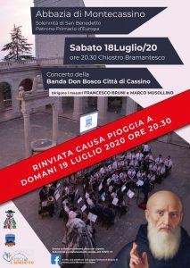 Solennità di San Benedetto Patrono Primario d'Europa e di Cassino – Concerto della Banda Don Bosco Città di Cassino – RIMANDATA