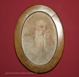 """San Benedetto piange la distruzione di Montecassino"""". Luca Giordano, frammento di affresco dalla sala dei bozzetti, museo Montecassino"""