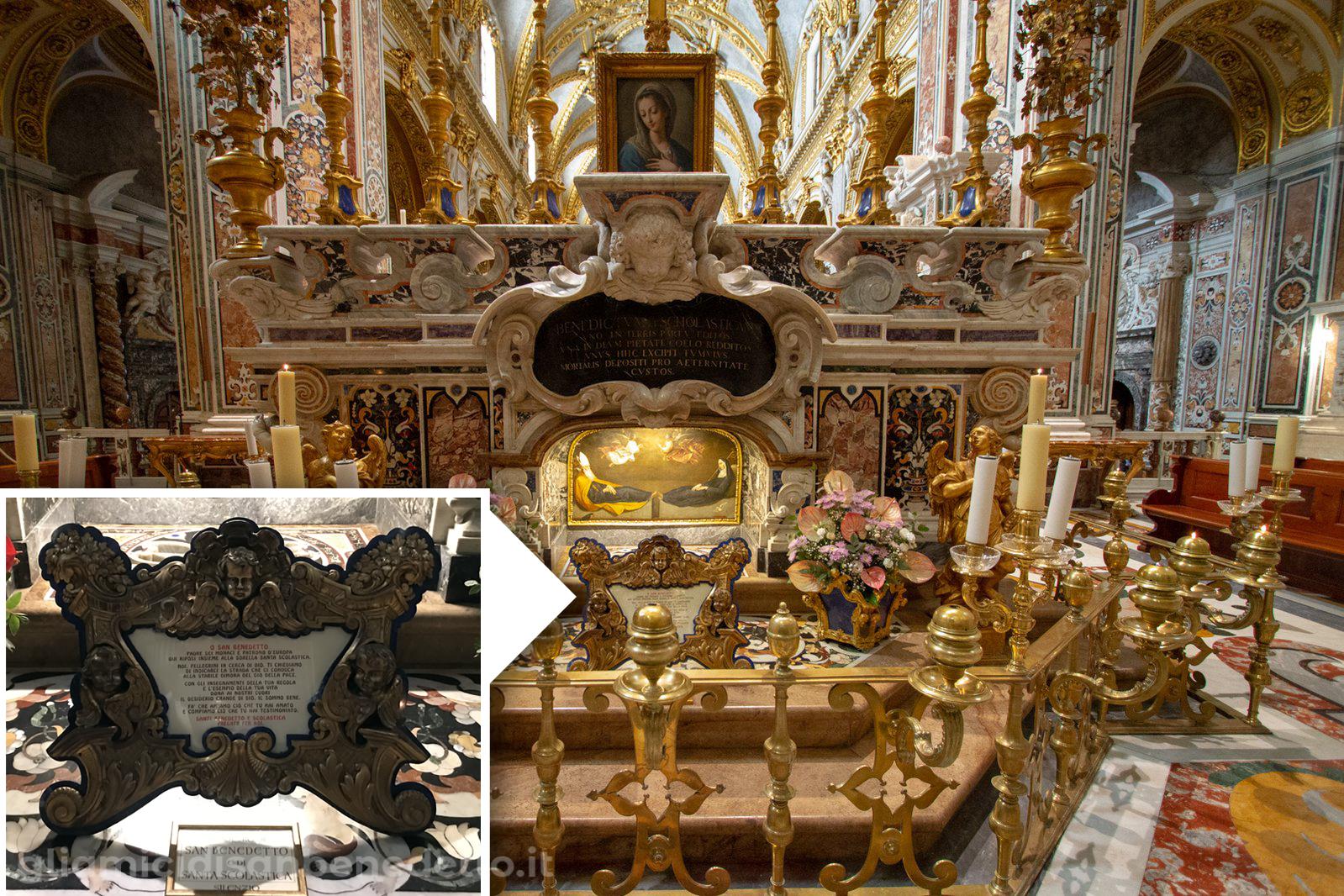 Preghiera sulla tomba dei santi Benedetto e Scolastica. Basilica Cattedrale di Montecassino
