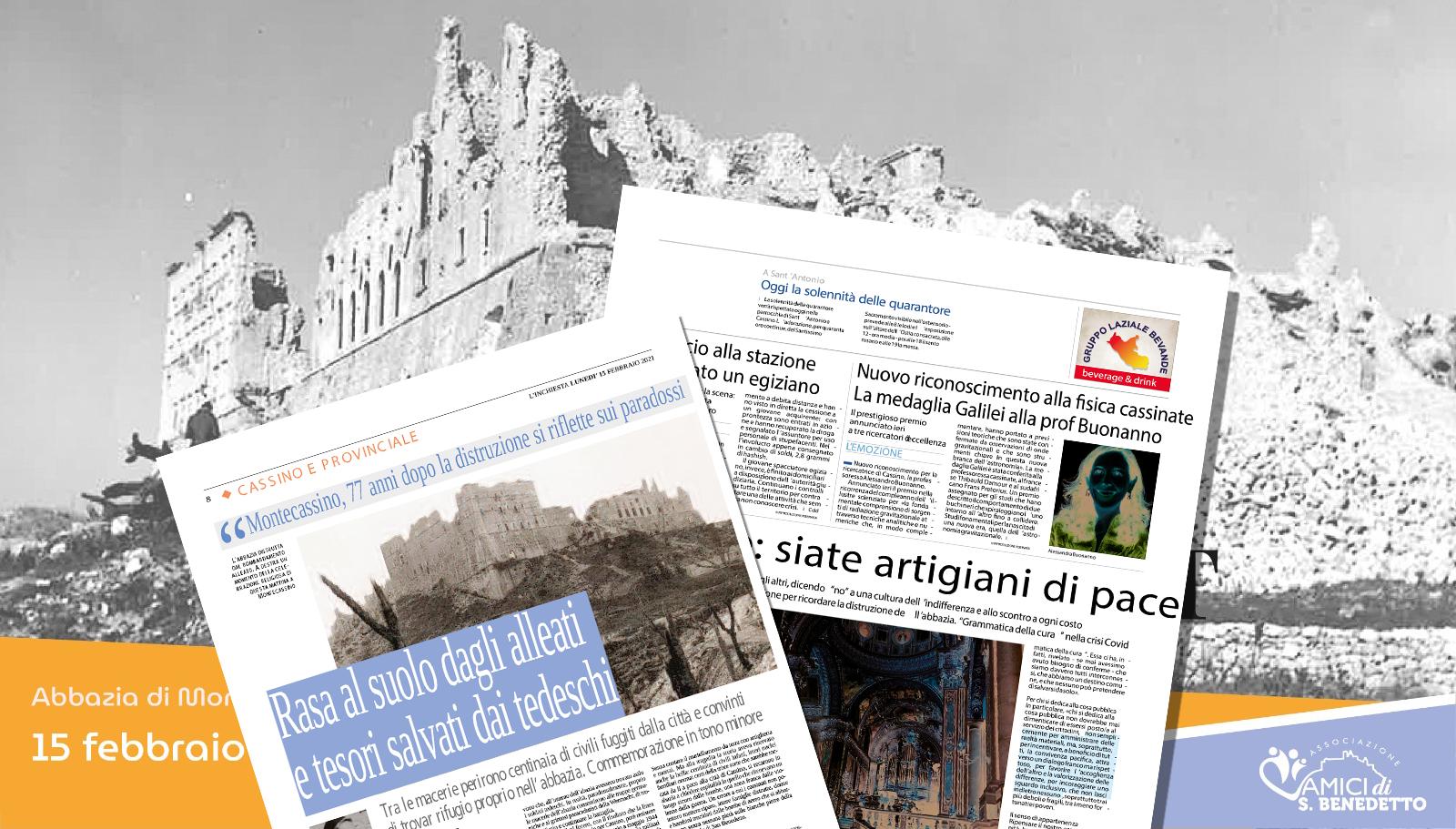 15 febbraio 1944 – 15 febbraio 2021 – il bombardamento dell'Abbazia di Montecassino